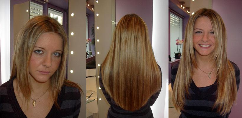 Avant apres la pose d 39 extension de cheveux en image for Salon extension cheveux paris