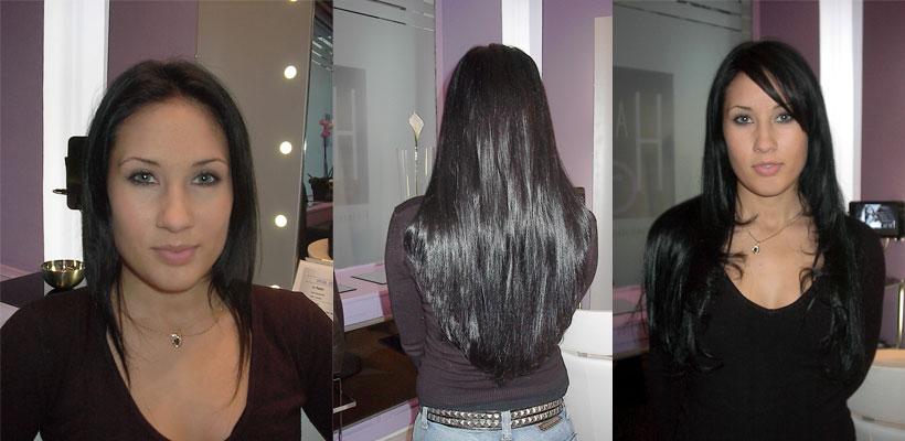 Sehr AVANT / APRES la pose d'extension de cheveux en image KV85